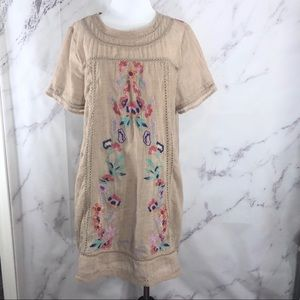 Umgee Embroidered Floral Tan Tunic Dress